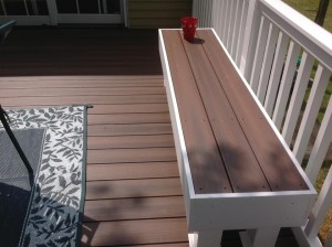 Deck with built in bench. Southern md