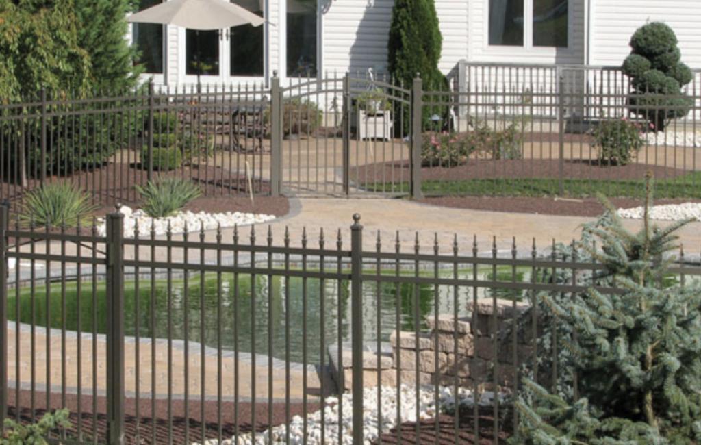 wrought iron fence around yard
